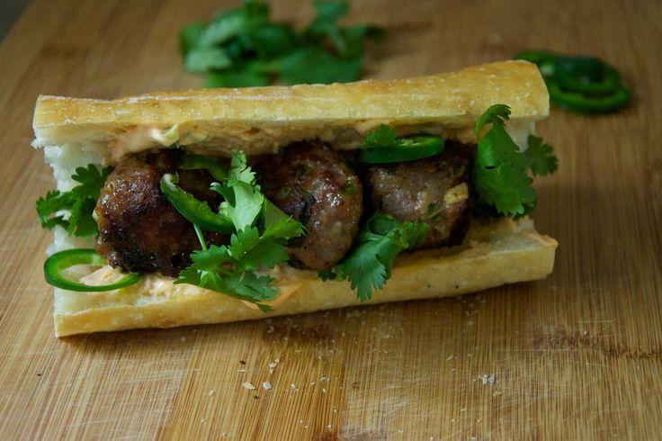 Pork Meatball Banh Mi #food | cafe menu ideas | Pinterest