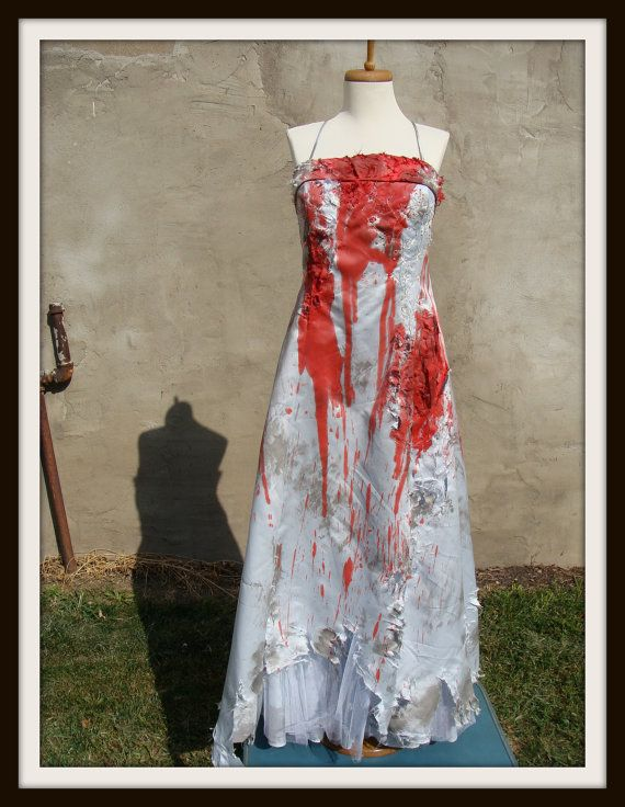 Zombie Wedding Dress For  : Custom made bloody zombie bridesmaid bride prom wedding dress gown