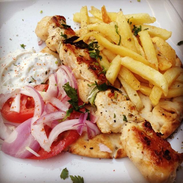 Chicken Souvlaki with Pita, Tomatoes, and Tzatziki :)