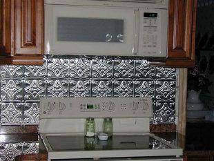 Metal ceiling express cheap backsplash home decorating for Cheap tin backsplash