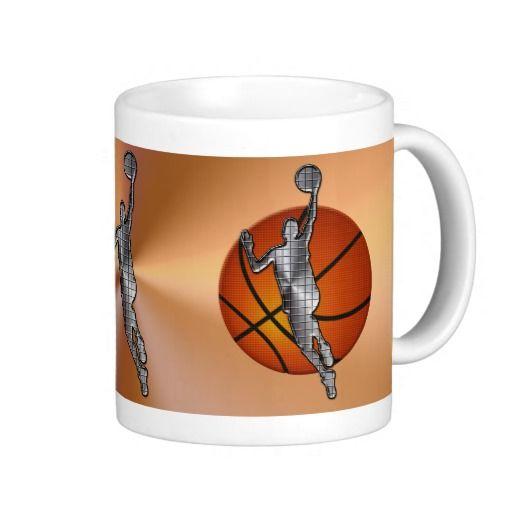 Basketball mugs metallic player on vintage ball