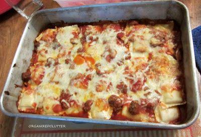 Ravioli Lasagna - I added spicy italian sausage that I cooked ahead ...