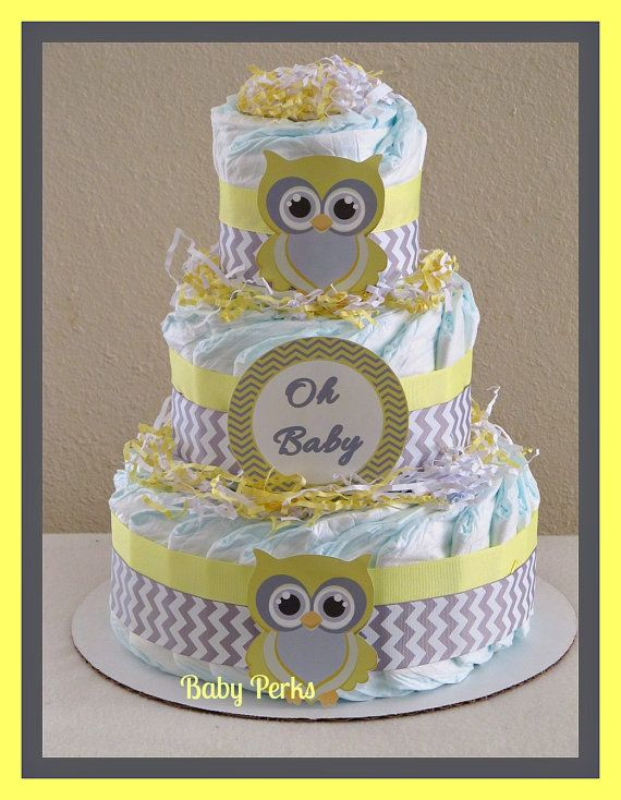 Yellow and Grey Owl Diaper Cake, Baby Shower Decorations ...