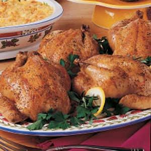 Herbed Cornish Hens Recipe | Taste of Home Recipes