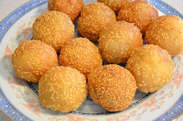 Red Bean Paste Sesame Balls / Jin Deui 紅豆蓉煎堆Recipe & YouTube ...