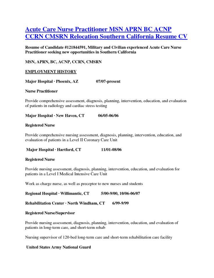Advanced Registered Nurse Practitioner Sample Resume colbro