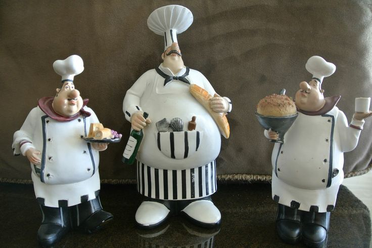 fat italian chef brother figurines kitchen decor
