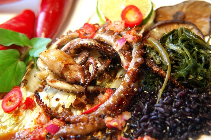 soy-ginger glazed, grilled octopus, braised dandelion greens with ...