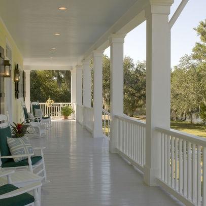 Porch railing american foursquare pinterest for Balcony ceiling design