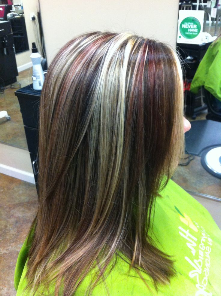 Burgundy Hair With Blonde Chunks Dark Brown Hairs | Dark ...