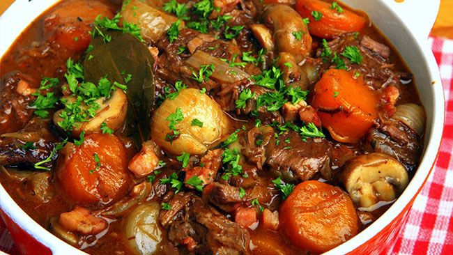 Beef Stew In Red Wine, With Bacon, Onions, And Mushrooms Recipes ...