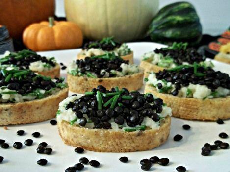 Nut Cheese and Chive Black Beluga Lentil Crostini