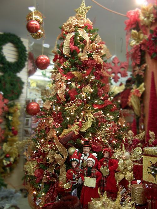 Red And Gold Christmas Tree Christmas Love Pinterest