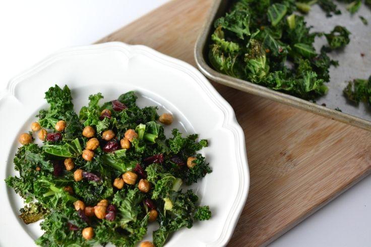 Crispy Kale and Chickpea Salad #vegan #healthy #recipe