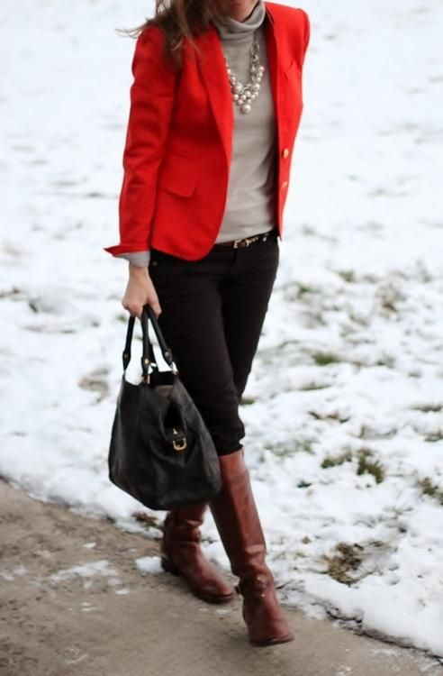 red blazer / grey / black denim / brown boots // member Lilly of Lilly's Style