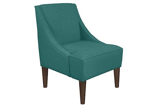 Quinn Swoop Arm Chair Teal