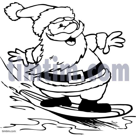 Surfing Santa Coloring Page