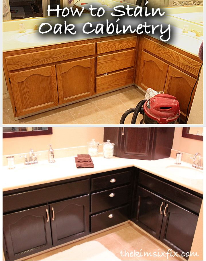The Kim Six Fix How to Stain Oak Cabinetry (Tutorial)  For the Home