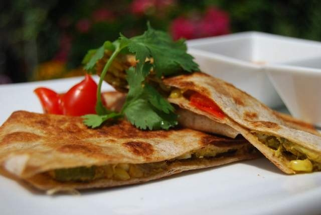 Vegetable Almond Quesadillas with Black Bean and Corn Salsa
