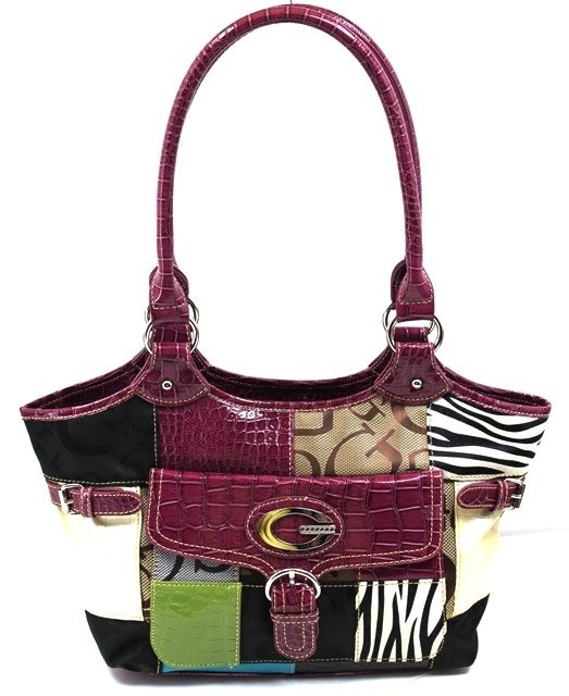 Patchwork Handbag In (Purple) By (Guess)