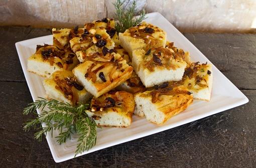 Potato Focaccia With Caramelized Onion, Black Olives, & Rosemary