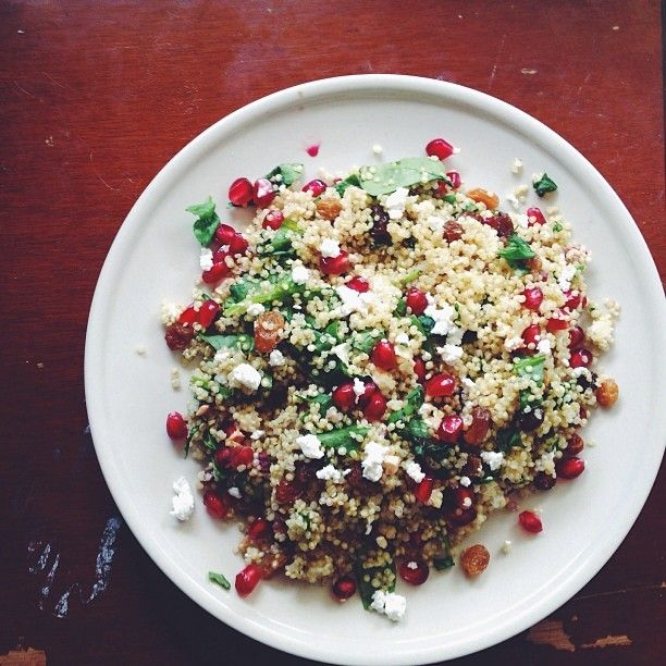 Inadvertently festive quinoa salad with basil, feta, spinach ...