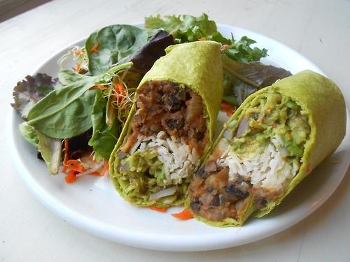 Black bean and sweet potato burritos with guacamole, and vegan cheese ...