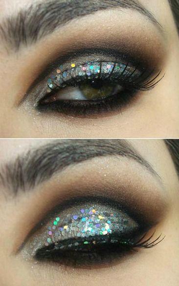 Glitter smokey eyes makeup tutorials by Glamorous