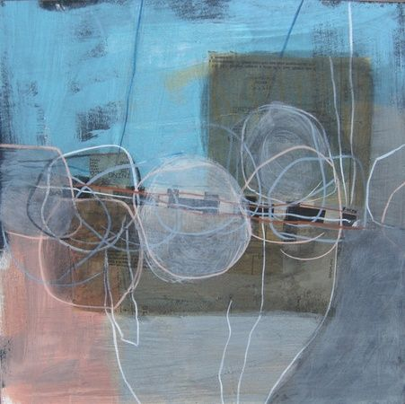 """Blue and Gray I"" abstract in circles, blues by Susan Finsen."