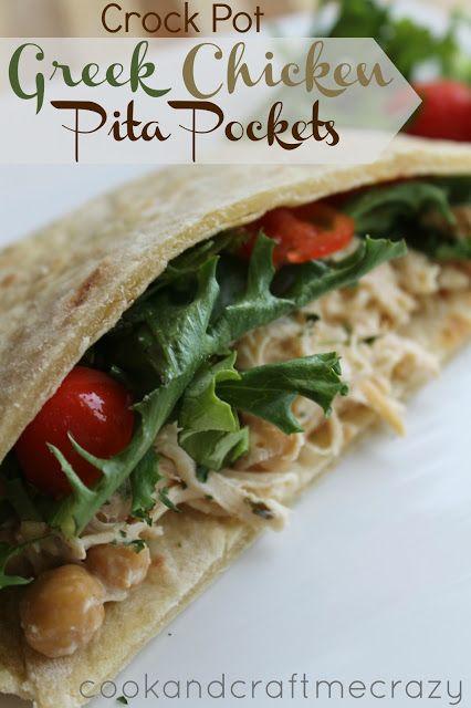 Crock Pot Greek Chicken Pita Pockets http://cookandcraftmecrazy ...
