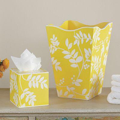 Yellow fern wastebasket and tissue set amarillo mellow yellow p