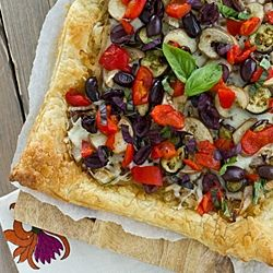 Onion & Eggplant Puff Pastry Tart, and there's roasted red peppers ...