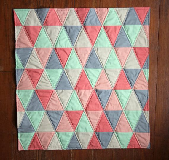 Baby Quilt Patterns With Triangles : Handmade Baby Quilt - Isosceles Triangle Quilt - Mint - Coral - Peach?