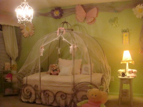 Victoria's Enchanted Room, Girl's Dream Room. It's a unique room that any little girl will love. It's beautiful and functional as well., This is a Cinderella Bed with a Shabby Chic bedding.I used the green walls to bring out the pink accesories in the room. , Girls' Rooms Design