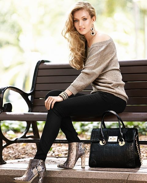 Stylish shoes handbag sweater with jeans