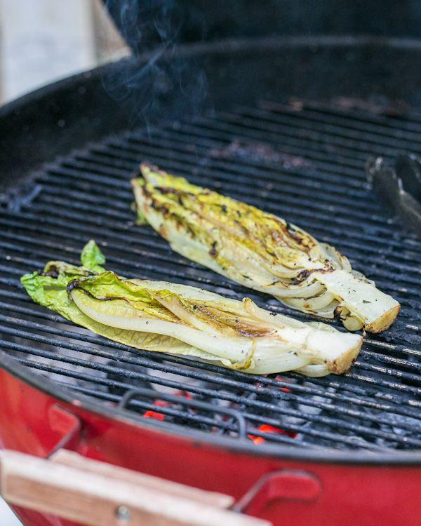 Grilled Romaine: 2 heads of romaine lettuce, Olive oil, Kosher salt ...