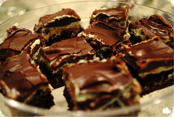 these are easy and super yummy - grasshopper brownies :)