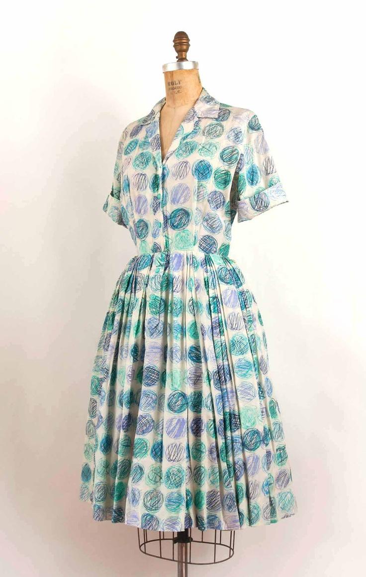 Dress 50s mid century modern print silk shirtwaist dress small