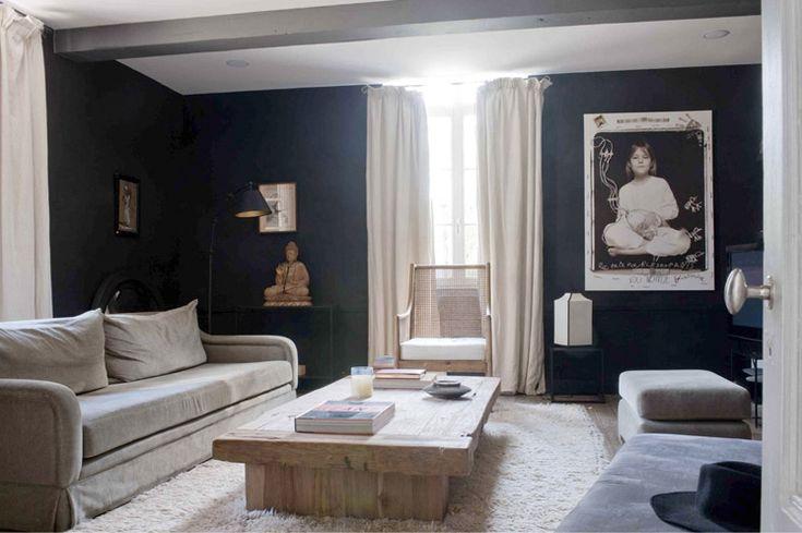 dark blue walls tan couch living room pinterest