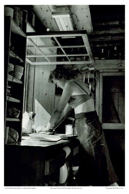 yes, that is julia child kneading dough in a bikini top. love it!