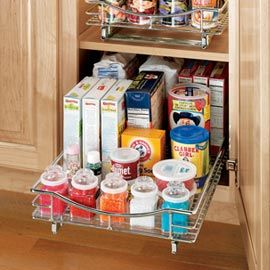 """NEED!  These would be perfect for my pantry cupboards!  Roll-out Cabinet Drawers  Keep tabs on what's in the back of that cabinet!  These easy-rolling, pull-out """"drawers"""" organize cabinets in the kitchen, laundry room, bath, even the garage—just roll out, and you'll always find what you're looking for with just a glance!"""