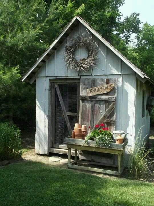Potting shed beautiful potting sheds pinterest for Garden potting sheds designs