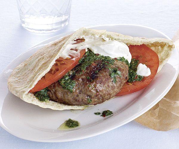 Spiced Mediterranean lamb burgers ~ A bright, fresh herb sauce, sliced ...