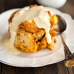 Pumpkin bread pudding with bourbon vanilla custard sauce. Oh boy!