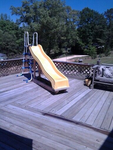 My homemade slide built by tim swimming pools pinterest for How to build a swimming pool slide