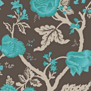 56 sq. ft. Mocha and Peacock Large Floral Trail Wallpaper