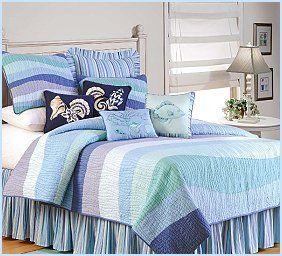 nautical theme bedding ensemble in cool ocean tones, | Bedroom Designs