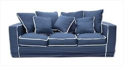 Sofa navy with white piping lm family room pinterest for Navy blue sectional sofa with white piping