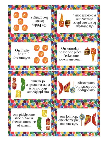 VERY HUNGRY CATERPILLAR Printable Folding Tent Cards - Food Labels ...