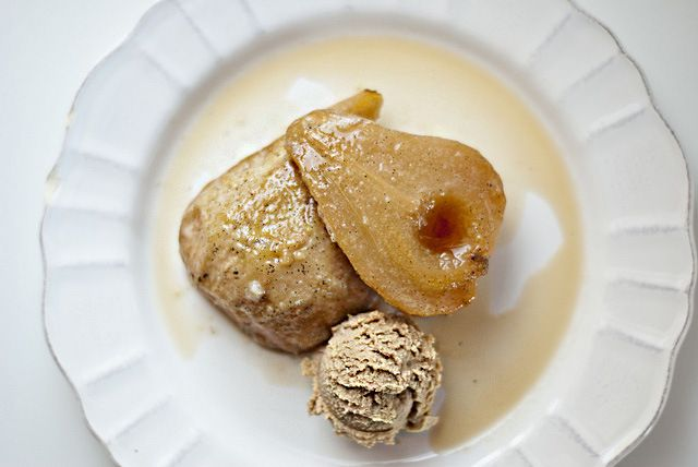 Vanilla Roasted Pears with Espresso Mascarpone Cream -- sweetsonian